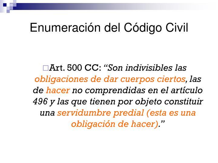 Enumeración del Código Civil
