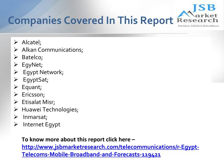 Companies covered in this report
