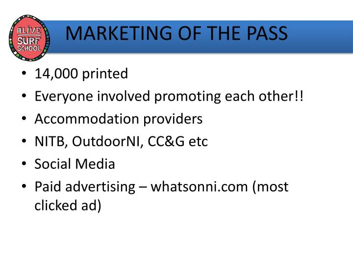 MARKETING OF THE PASS