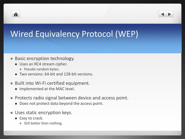 Wired Equivalency Protocol (WEP)