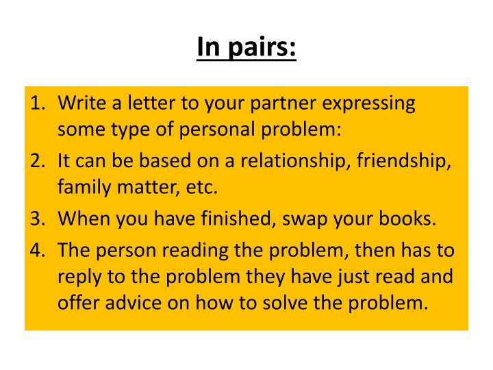 In pairs: