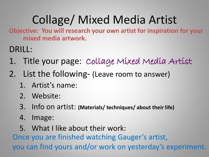 Collage/ Mixed Media Artist