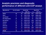 analytic precision and diagnostic performance of different anti ccp assays