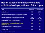 half of patients with undifferentiated arthritis develop confirmed ra at 1 year