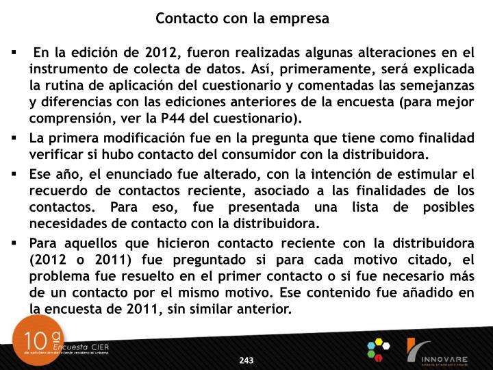 Contacto con la empresa
