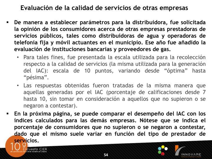 Evaluación de la calidad de servicios de otras empresas