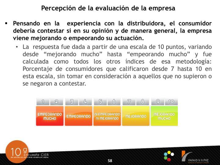 Percepción de la evaluación de la empresa
