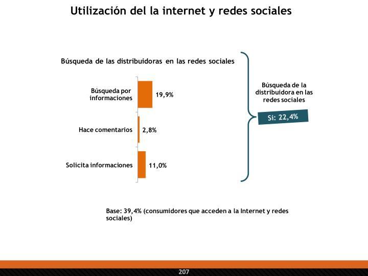 Utilización del la internet y redes sociales