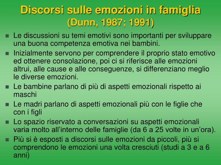 Discorsi sulle emozioni in famiglia