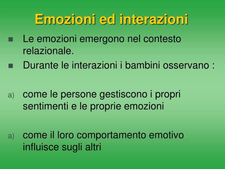 Emozioni ed interazioni