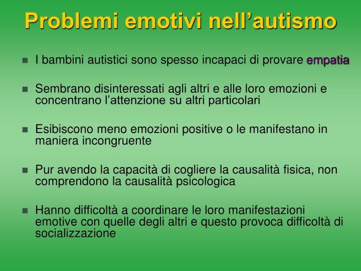 Problemi emotivi nell'autismo