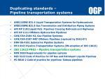 duplicating standards pipeline transportation systems