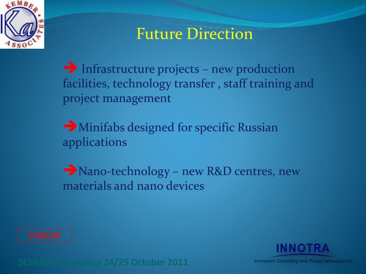 Infrastructure projects – new production facilities, technology transfer , staff training and project management
