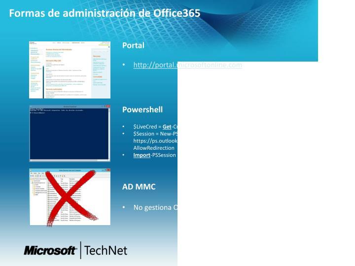 Formas de administración de Office365