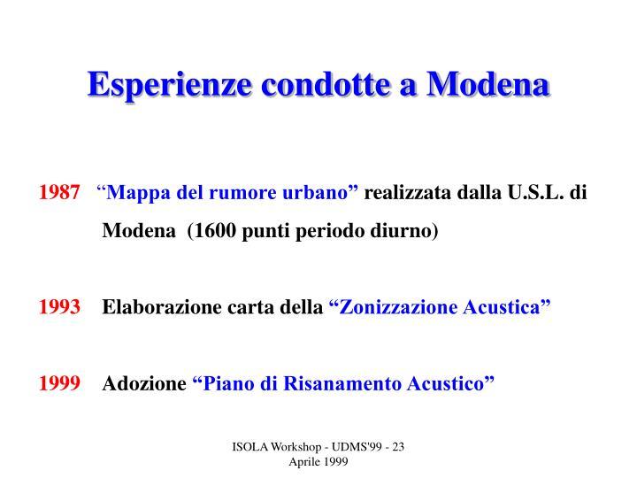 Esperienze condotte a Modena