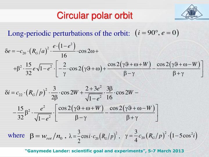 Circular polar orbit