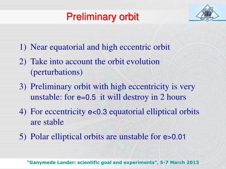 Preliminary orbit
