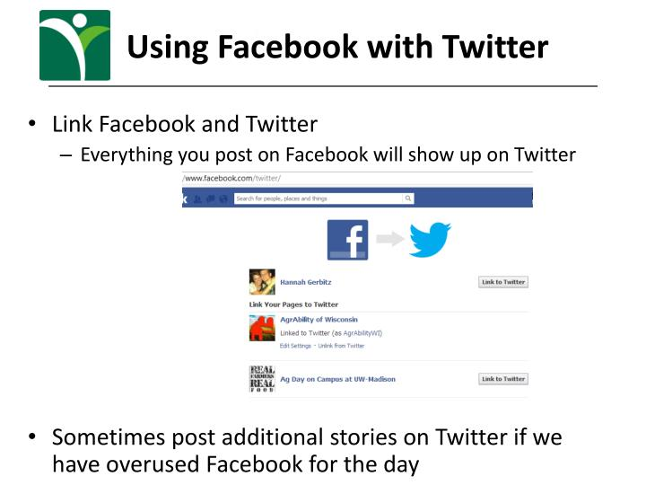Using Facebook with Twitter