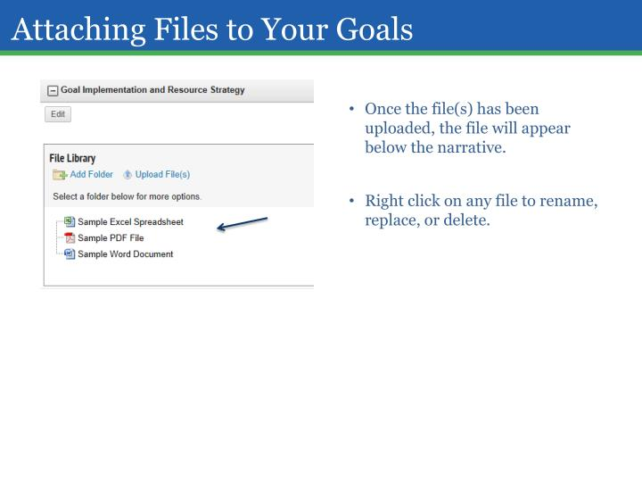 Attaching Files to Your Goals