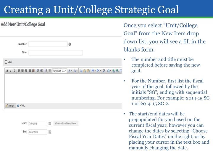 Creating a Unit/College Strategic Goal