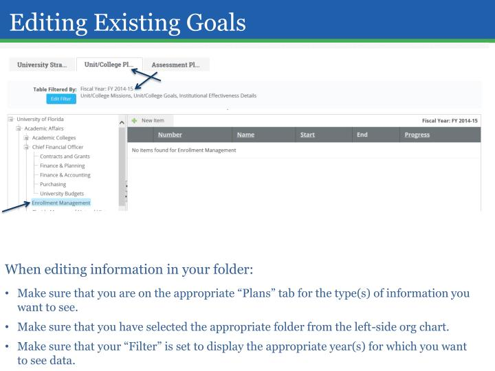 Editing Existing Goals