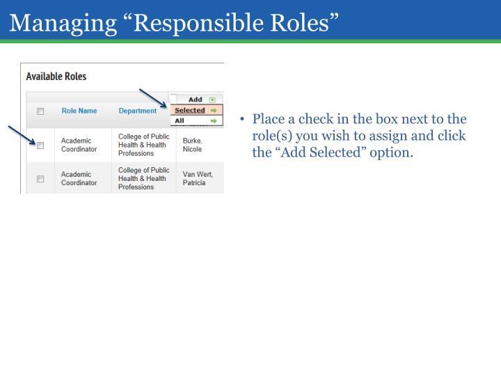 """Managing """"Responsible Roles"""""""