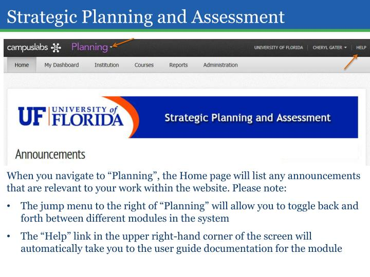 Strategic Planning and Assessment