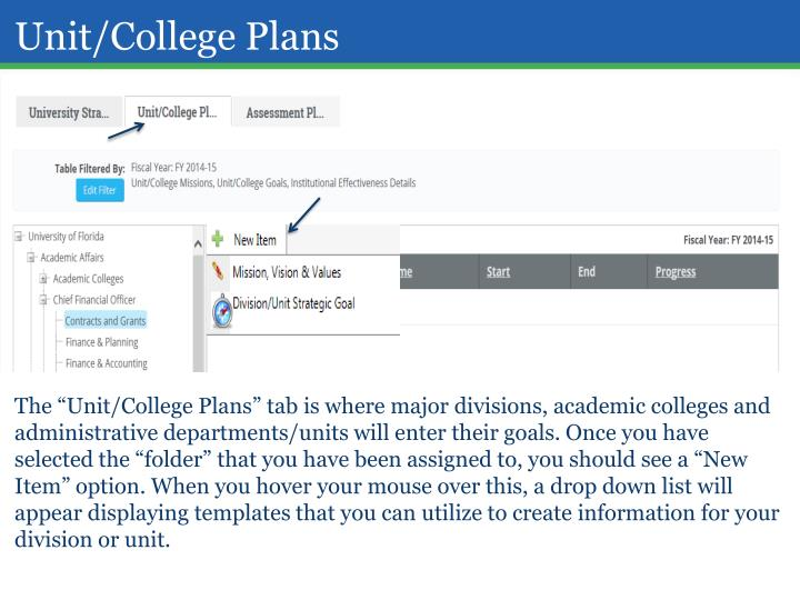 Unit/College Plans
