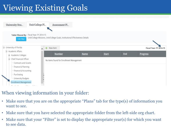 Viewing Existing Goals