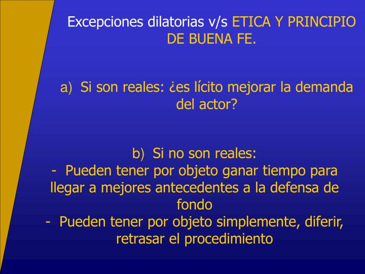 Excepciones dilatorias v/s