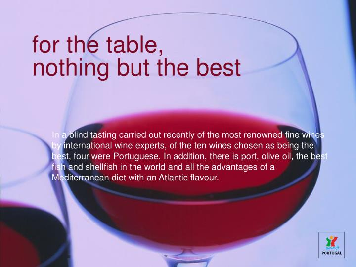 for the table,