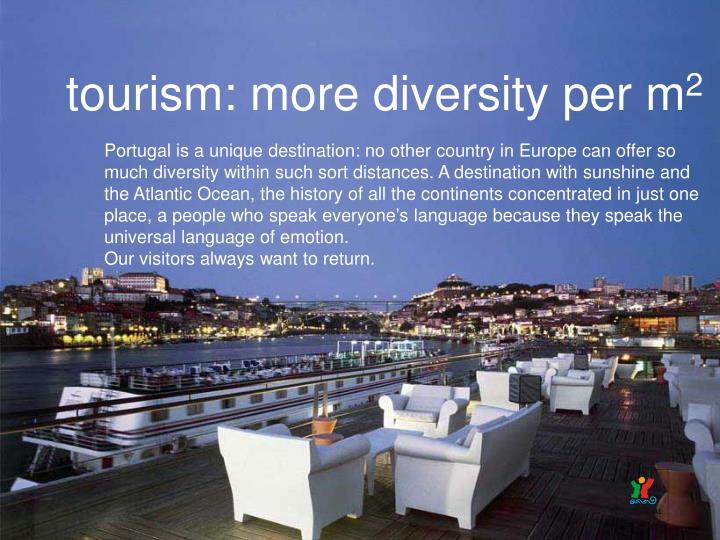tourism: more diversity per m