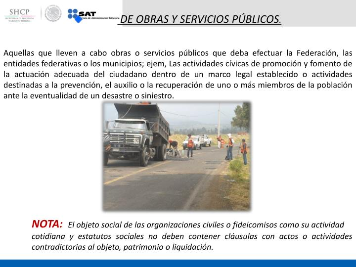 DE OBRAS Y SERVICIOS PÚBLICOS