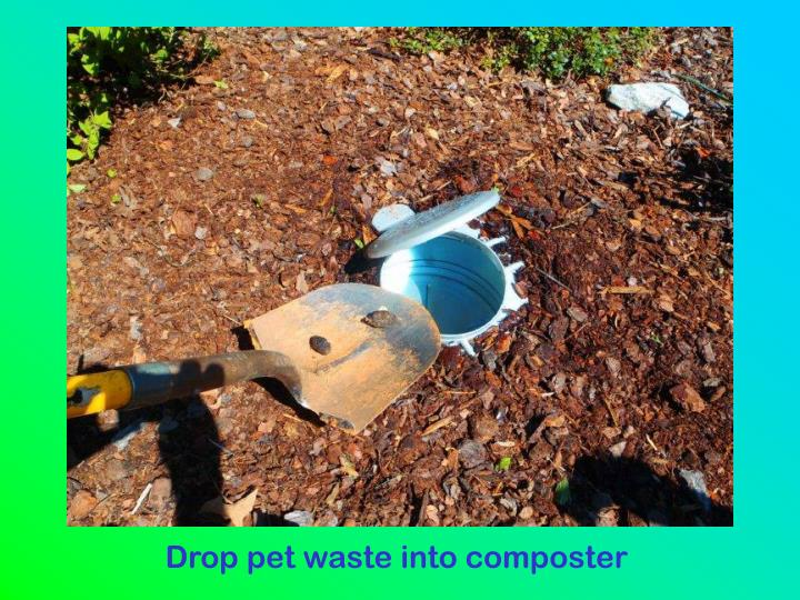 Drop pet waste into composter