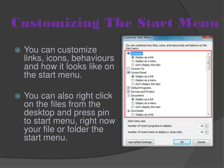 Customizing the start menu