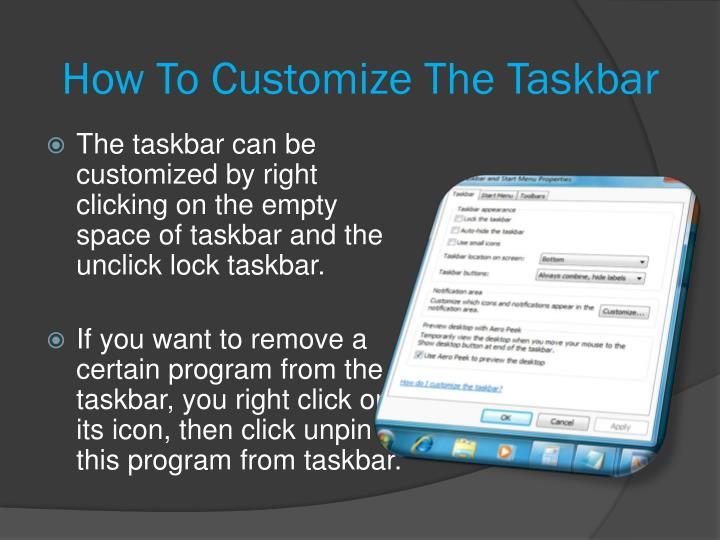 How To Customize The Taskbar