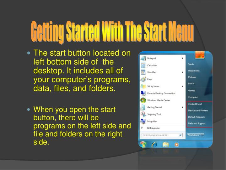 Getting Started With The Start Menu