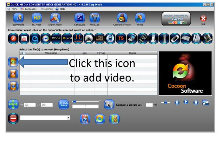 Click this icon to add video