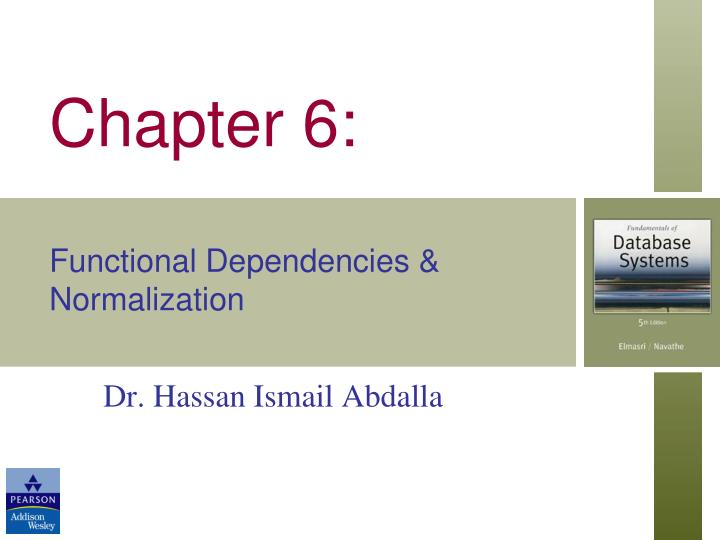 Chapter 6 functional dependencies normalization