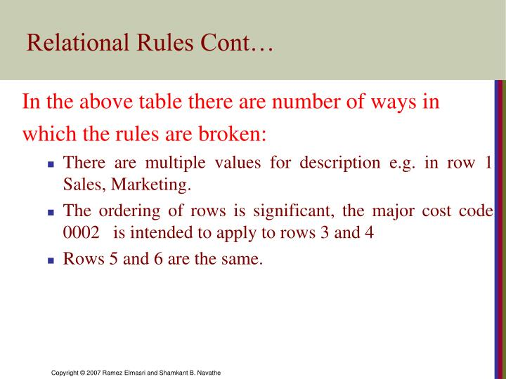 Relational Rules Cont…