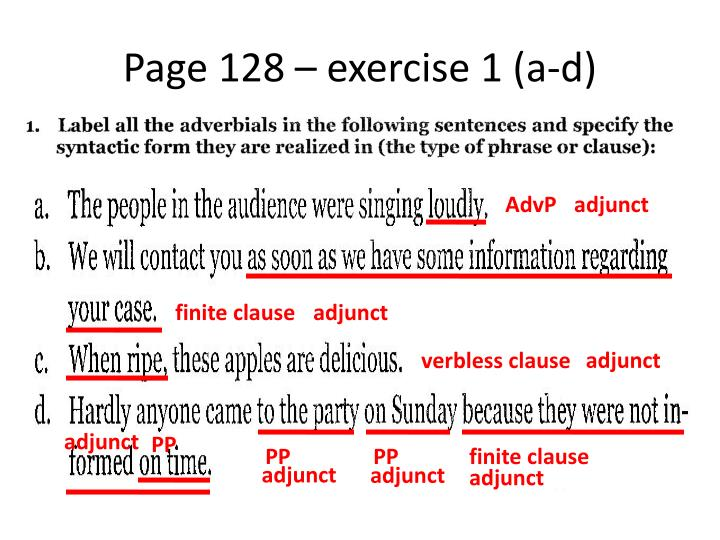 Page 128 – exercise 1 (a-d)