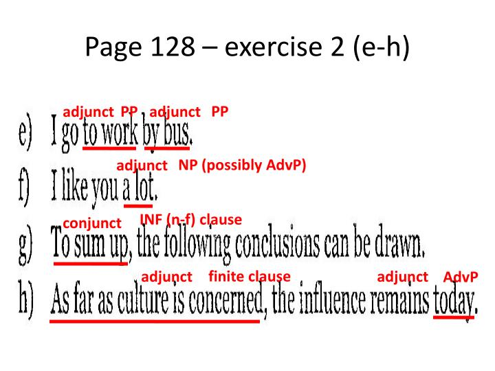 Page 128 – exercise 2 (e-h)