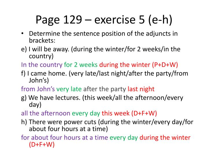 Page 129 – exercise 5 (e-h)
