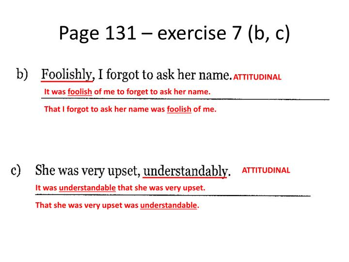 Page 131 – exercise 7 (b, c)