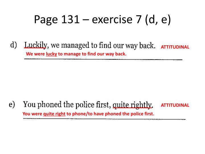 Page 131 – exercise 7 (d, e)