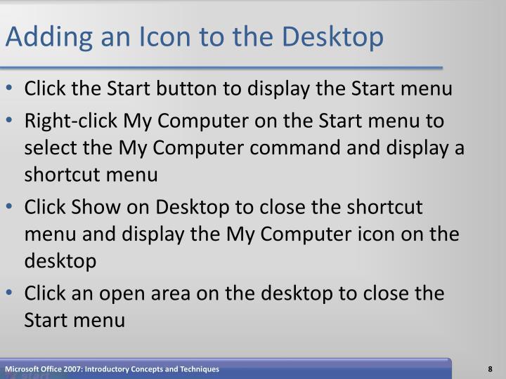 Adding an Icon to the Desktop