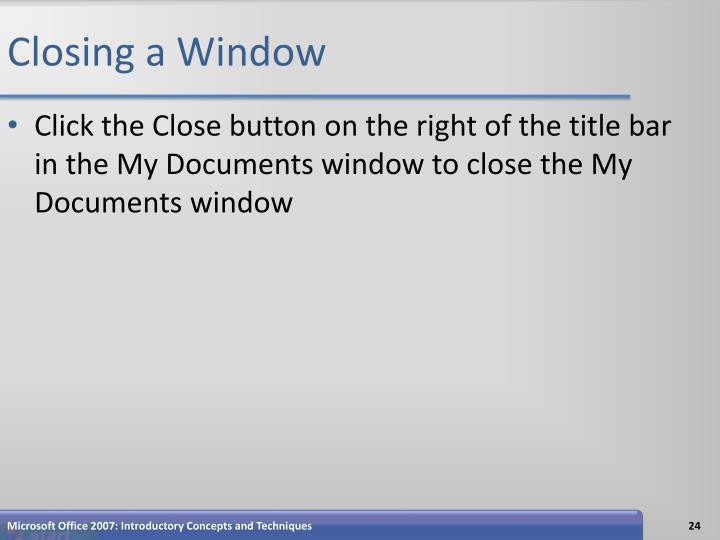 Closing a Window