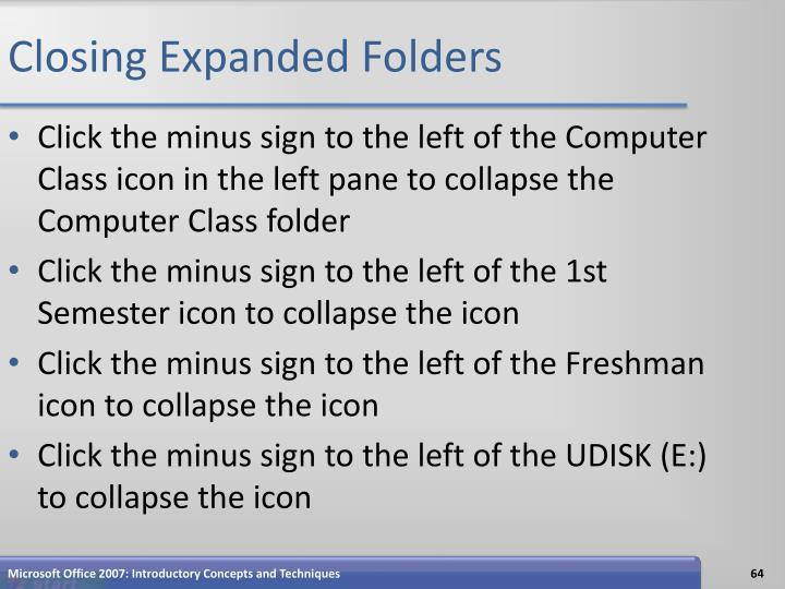 Closing Expanded Folders