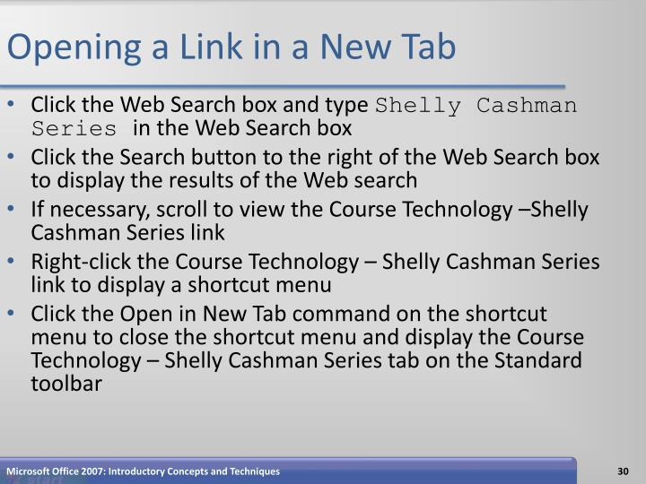 Opening a Link in a New Tab