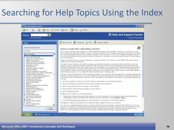 Searching for Help Topics Using the Index